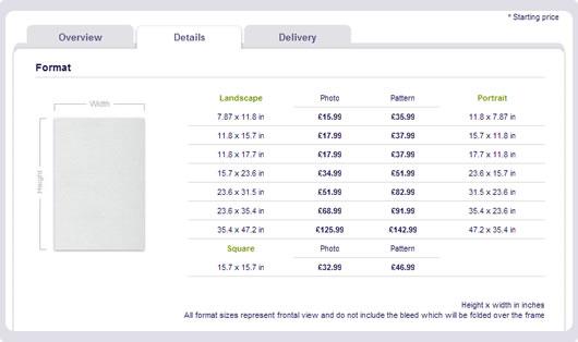 screenshot formats & prices
