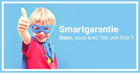 Smartgarantie Une fote s'est glissée dans votre produit ? Pas de soucis ! Avec la smartgarantie, nous vous renvoyons gratuitement votre produit sans faute !