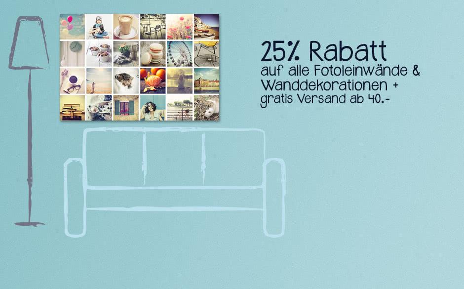 25% Rabatt auf alle Foto-Leinwände + gratis Versand ab 40.- 25% Rabatt auf alle Foto-Leinwände + gratis Versand ab 40.-