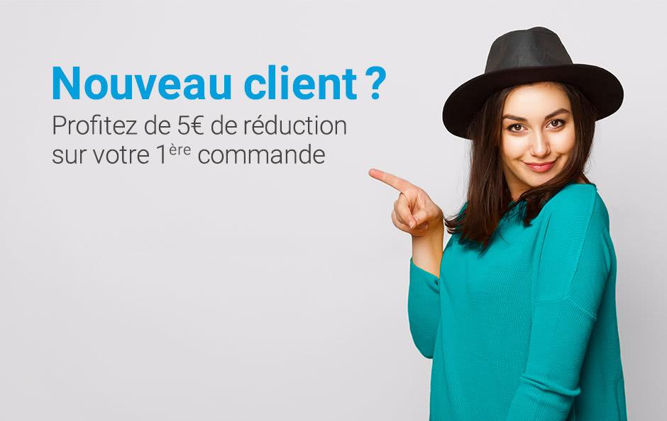 Offre spéciale nouveau client Profitez de 5€ sur votre 1ère commande