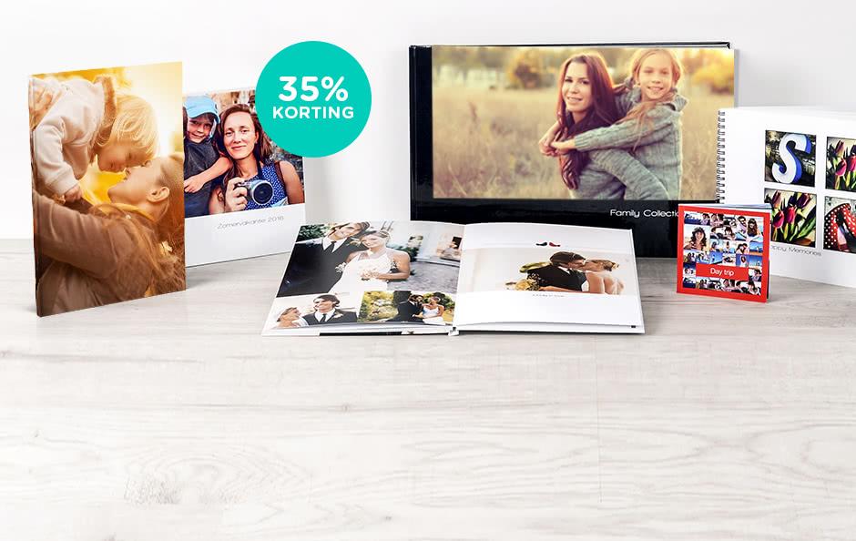 35% korting op fotoboek L 35% korting op fotoboek XL