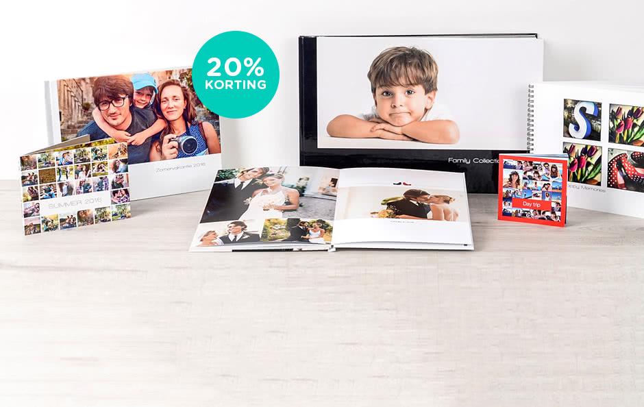 20% korting op alle fotoboeken 20% korting op alle fotoboeken