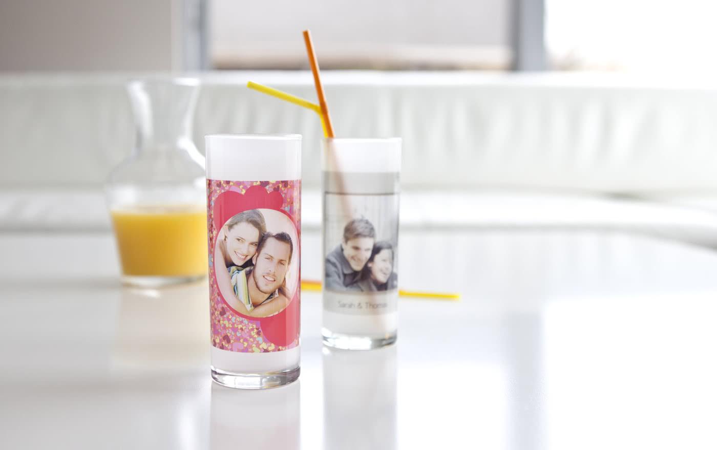 trinkglas mit foto selbst gestalten online bei smartphoto. Black Bedroom Furniture Sets. Home Design Ideas