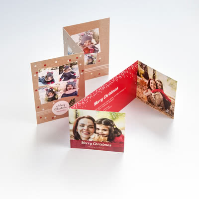Cartes de voeux personnalisées 3 volets accordéon