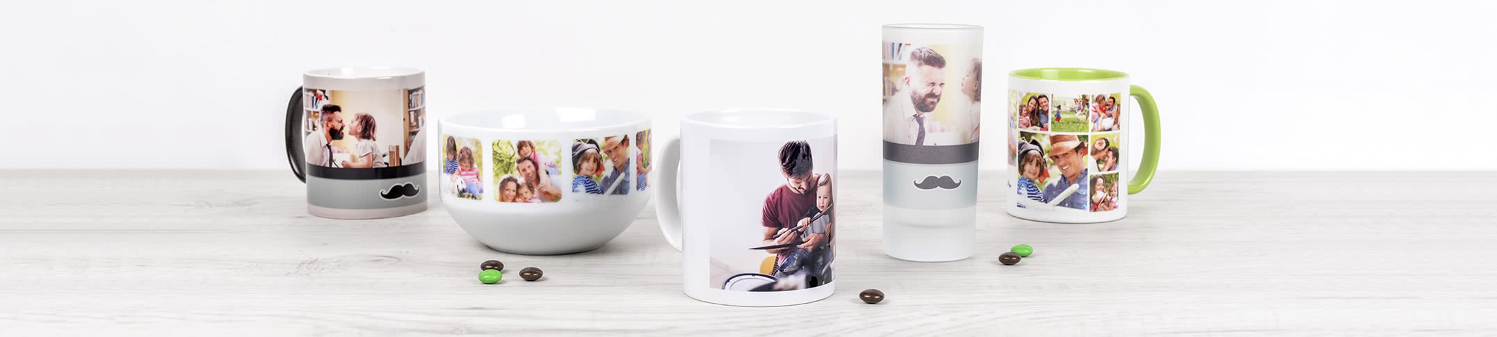 Gepersonaliseerde mokken, tassen en glazen met foto