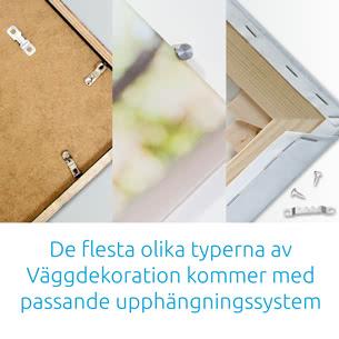 De flesta olika typerna av Väggdekoration kommer med passande upphängningssystem